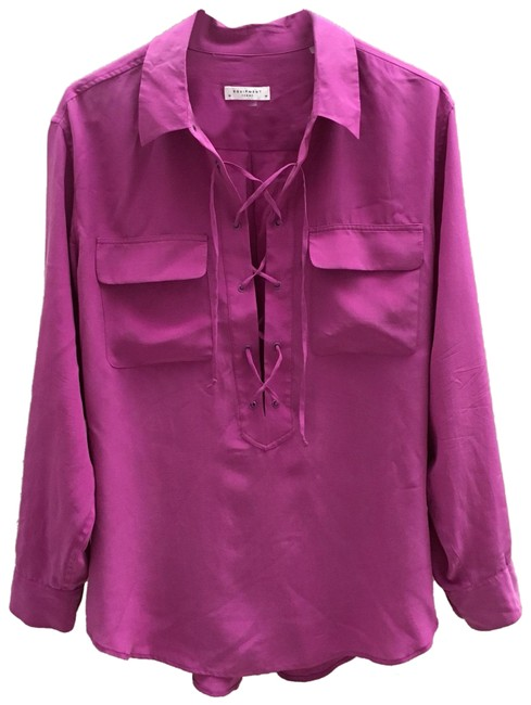 Item - Fuchsia Knox Lace-up Blouse Button-down Top Size 10 (M)