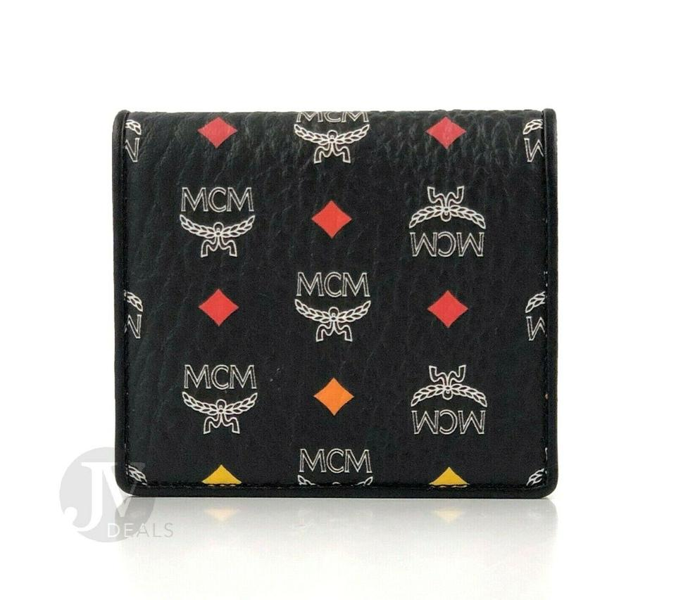 100% authentic 9f23c 0076f MCM Black Visetos Coated Canvas Mini Two Fold Flap Card Case Wallet