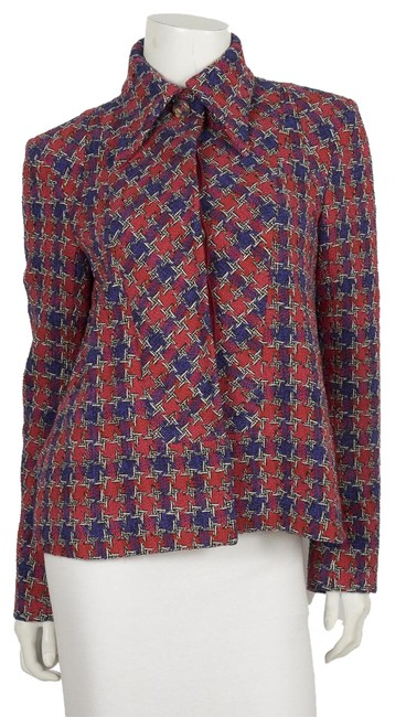 Item - Red And Purple Houndstooth Tweed Jacket 40 Blazer Size 8 (M)