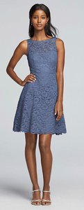 David's Bridal Slate Blue Lace Short Sleeveless All Over Feminine Bridesmaid/Mob Dress Size 12 (L)