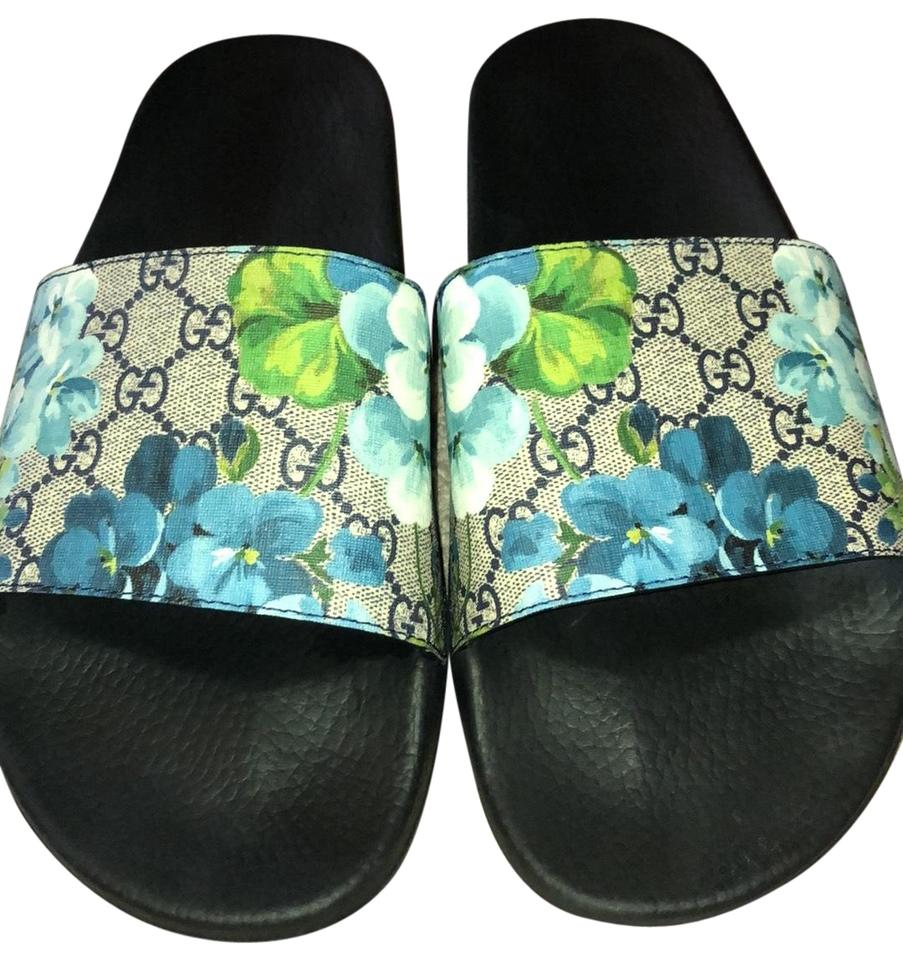 1dd07c2120 Gucci Floral Men's Gg Supreme Canvas Bloom Slides Sandals Size US 13  Regular (M, B) 42% off retail