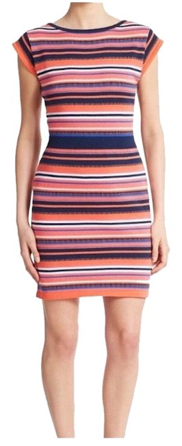 Item - Orange Blue Pink & White Kyrie Sweater Short Casual Dress Size 0 (XS)