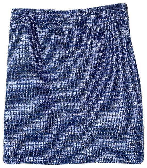 Item - Navy Blue White Womens Tweed Pencil Italian Fabric Skirt Size 12 (L, 32, 33)