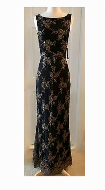 Item - Bronze Black Alice+olivia Katrina Scallop-back Beaded Gown Bronze/Blac Long Cocktail Dress Size 6 (S)