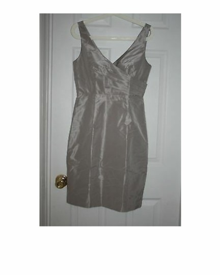 J.Crew Driftwood Silk Sara In Taffeta Aged Formal Bridesmaid/Mob Dress Size 4 (S) Image 4