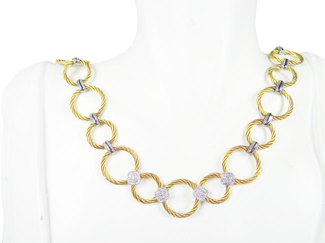 Item - Gold Silver 18k White Stainless Steel and 0.25ct Pave Diamonds Necklace