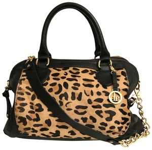 Audrey Brooke Purse Handbag Shoulder Tote Leopard Satchel in Black beige gold