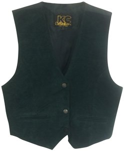 KC Collections Suede Sleeveless Sateen Pockets Vest