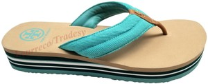 Tory Burch Tan/Green/Aqua Sandals