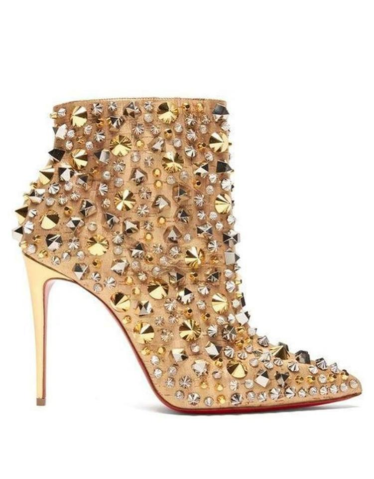 best website a6c12 09431 Christian Louboutin Gold So Full Kate100 Spiked Studded Heels Boots/Booties  Size EU 37 (Approx. US 7) Regular (M, B) 20% off retail
