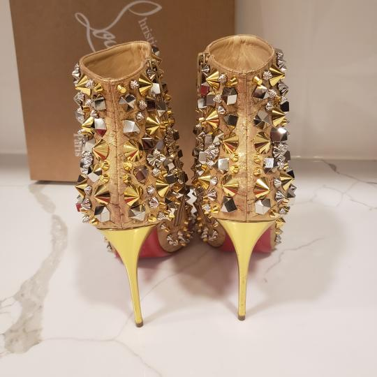 Christian Louboutin Stiletto So Kate Caligraphy Caligraf Gold Boots Image 1