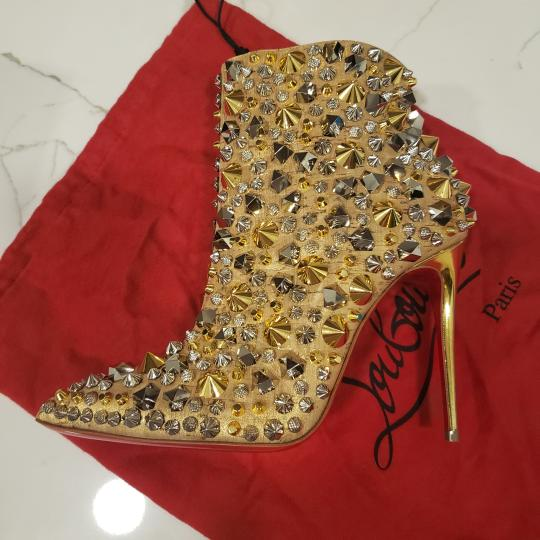 Christian Louboutin Stiletto So Kate Caligraphy Caligraf Gold Boots Image 10