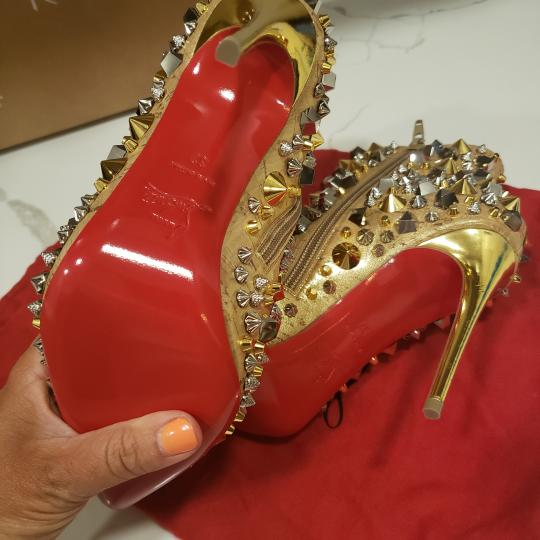 Christian Louboutin Stiletto So Kate Caligraphy Caligraf Gold Boots Image 11