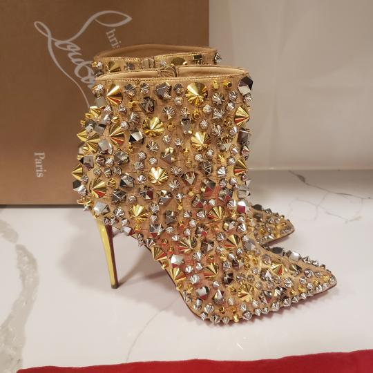 Christian Louboutin Stiletto So Kate Caligraphy Caligraf Gold Boots Image 3
