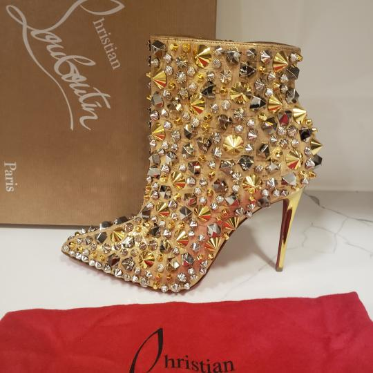 Christian Louboutin Stiletto So Kate Caligraphy Caligraf Gold Boots Image 4