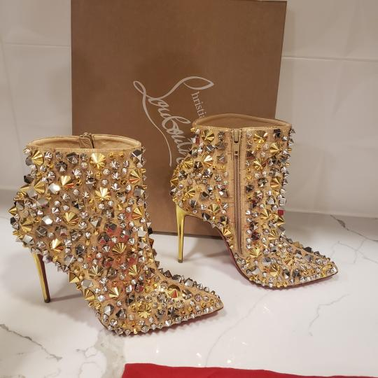 Christian Louboutin Stiletto So Kate Caligraphy Caligraf Gold Boots Image 5