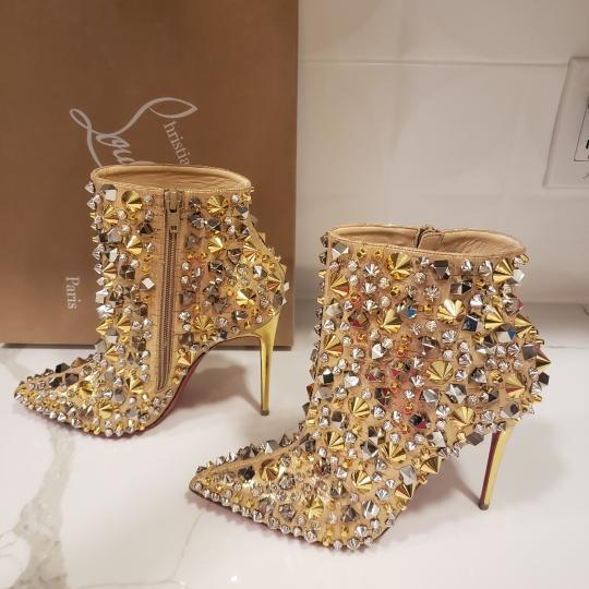 Christian Louboutin Stiletto So Kate Caligraphy Caligraf Gold Boots Image 6