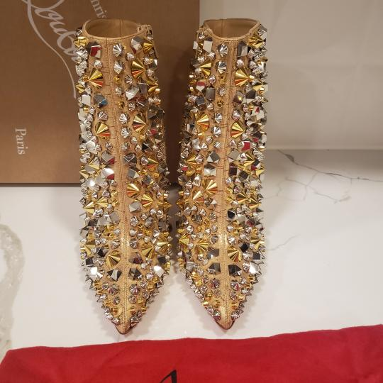 Christian Louboutin Stiletto So Kate Caligraphy Caligraf Gold Boots Image 7