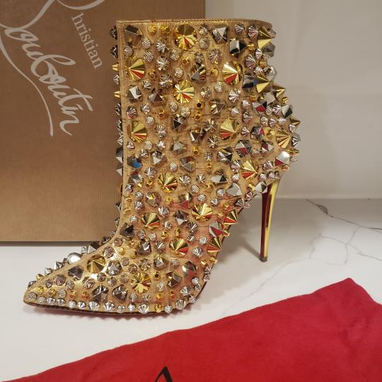Christian Louboutin Stiletto So Kate Caligraphy Caligraf Gold Boots Image 9