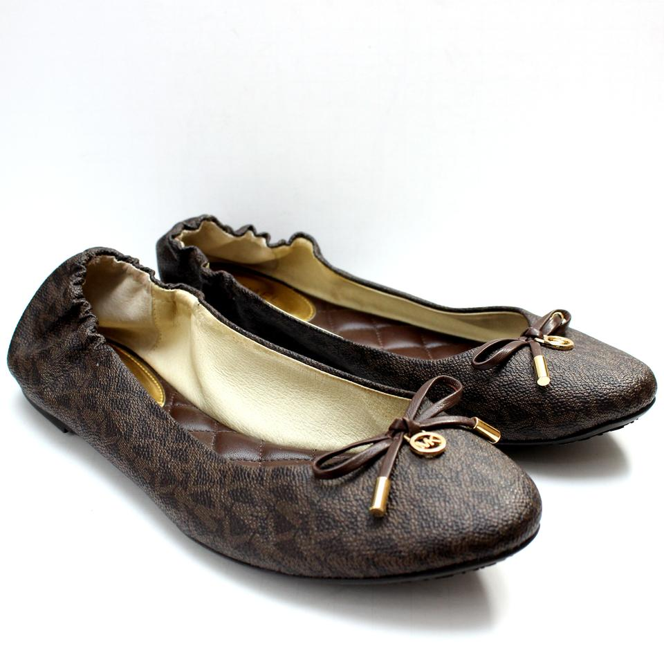 7ae32608e MICHAEL Michael Kors Brown Melody Signature Print Ballet Flats Size ...