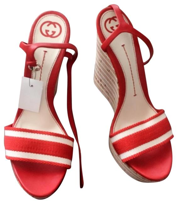 Item - Red and White Red/White Cork Wedges Sandals Size EU 42 (Approx. US 12) Wide (C, D)