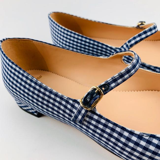 J.CREW NWT Pointed Toe Mary Jane Flats Gingham Leather Shoes Navy Size 7.5 /& 8