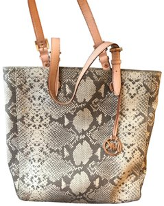 Michael Kors Tote in Dark sand python-embossed leather.