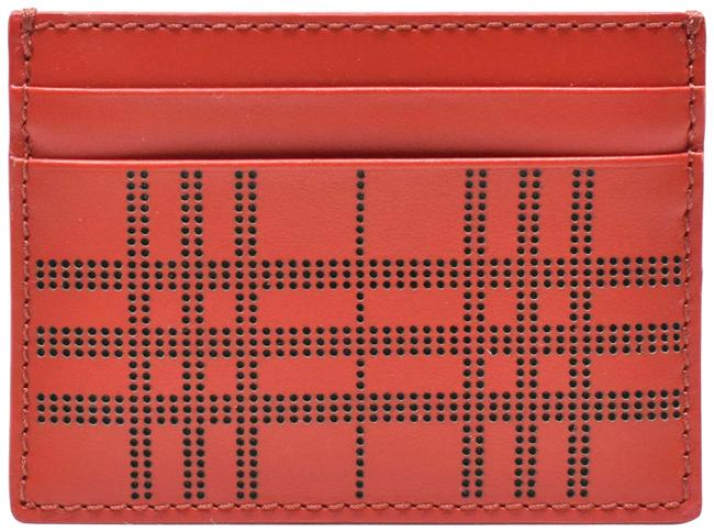 Item - Red Sandon Perforated Check Leather Card Case Wallet