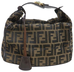 Fendi Large F Logo Mint Condition Locking Top Handle Unique Tobacco Satchel in brown Zucco print