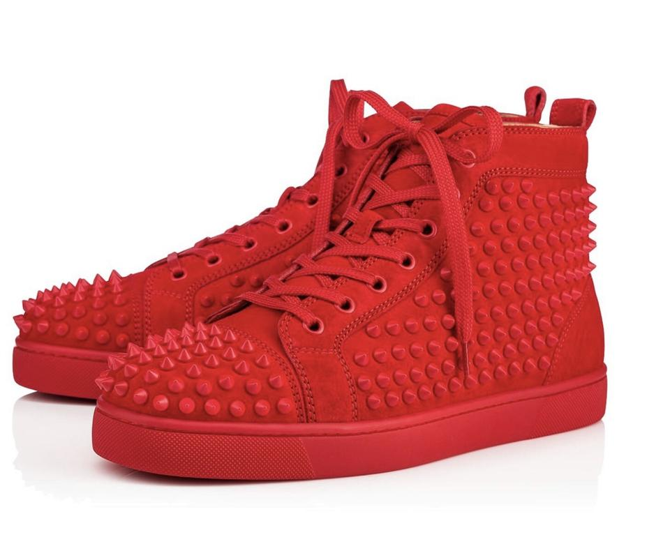 024e126fa84 Christian Louboutin Red Men's Louis Crystal-spike Suede Sneakers Size EU 39  (Approx. US 9) Regular (M, B) 35% off retail