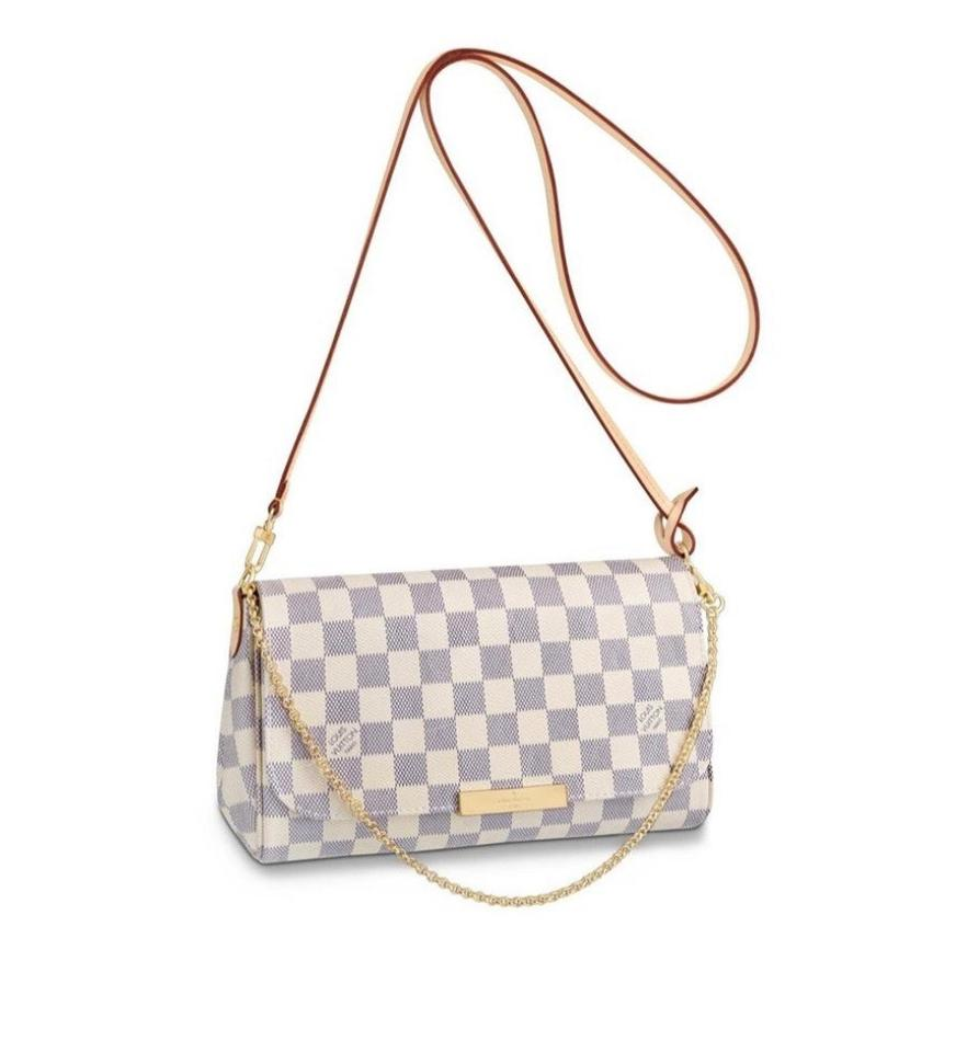 284d046f4db19 Louis Vuitton Favorite Mm 2019 New Damier Azur Canvas White Cross ...