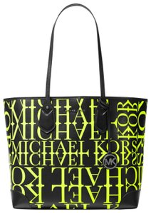 Michael Kors Leather 31t9uv0t3y Black/Neon Tote in Black/Neon Yellow