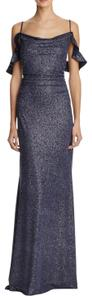 Laundry by Shelli Segal Cold Shoulder Sparkle Ruched Gown Dress