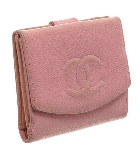 Chanel Chanel Pink Caviar Leather Vintage Timeless Compact Wallet Image 1