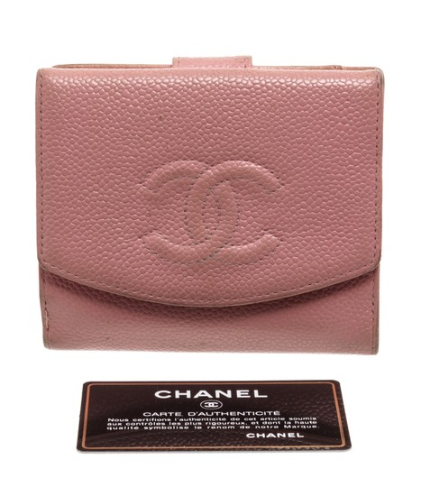 Chanel Chanel Pink Caviar Leather Vintage Timeless Compact Wallet Image 7