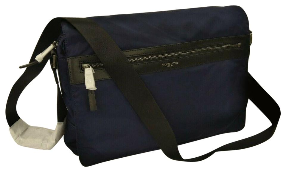 Michael Kors Messenger Nwot Men's Kent Large Ew Zip Indigo Blue Nylon Shoulder Bag 54% off retail