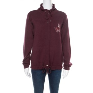 Chanel Burgundy Polo Centaur Embroidered Zip Front Jacket M
