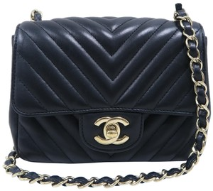 Chanel Mini Square Chevron Lambskin Cross Body Bag