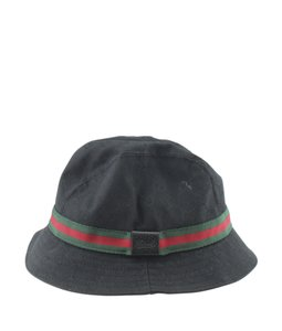 Gucci Gucci Web GG Black Nylon & Leather Bucket Hatx Size S (173608)