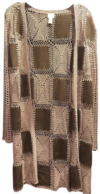 Item - Chocolate Brown and Cream Suede/Crocheted Color Block Duster Poncho/Cape Size 0 (XS)