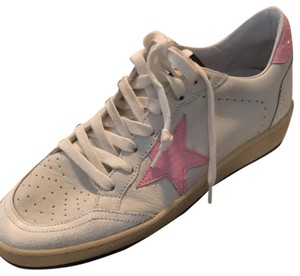 Golden Goose Deluxe Brand White with baby pink star Athletic