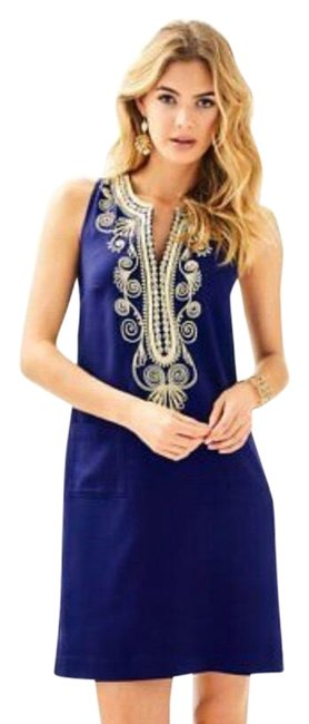 Item - Navy and Gold Carlotta Stretch Shift #30591 Mid-length Cocktail Dress Size 4 (S)