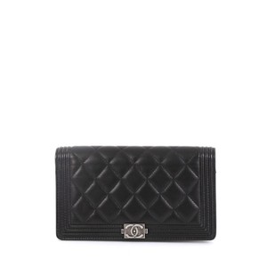 Chanel Lambskin Wallet Wristlet in black
