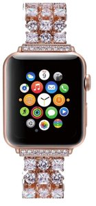 Apple Luxury 14K Rose Gold custom made Swarovski Crystals iWatch compatible replacement bracelet watch band