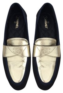 Chanel navy and black and gold Flats