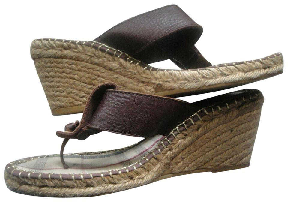 8d2243120a4 Burberry Multicolor Nova Thong Sandal Brown Leather Espadrille Wedges Size  EU 40 (Approx. US 10) Regular (M, B) 75% off retail