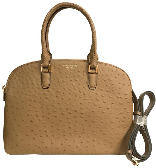 Item - New Dalton Dome Ostrich Brown Beige Taupe Leather Satchel