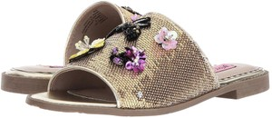 Betsey Johnson Petals Bees Flowers Stripes Gold Multi Sequins Mules
