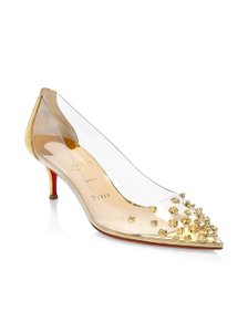 Christian Louboutin Spike Studded Pvc Kitten Gold Pumps