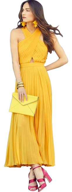 Item - Yellow Elenita Pleated Long Casual Maxi Dress Size 6 (S)